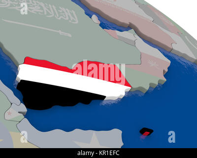 Yemen with flag - Stock Photo