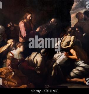 The Raising of Lazarus  by Mattia Preti (1613-1699), oil on canvas, c.1630-40. - Stock Photo