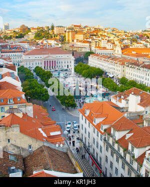 Aeriak view of Rossio square and Old Town of Lisbon, Portugal - Stock Photo