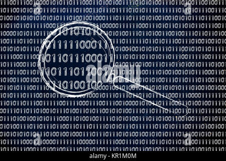 magnifying glass on binary code, concept of pattern recognition - Stock Photo