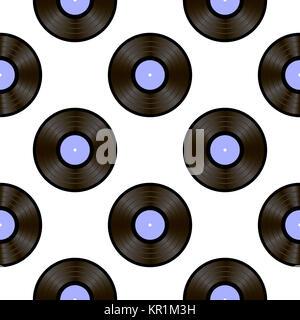 Retro Vynils. Sound Disc Seamless Pattern - Stock Photo