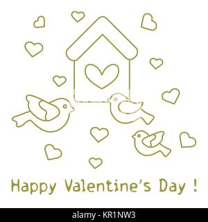 cute picture with birds birdhouse and hearts template for design