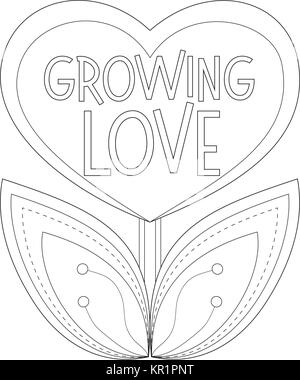 Growing love poster with heart shaped plant. - Stock Photo