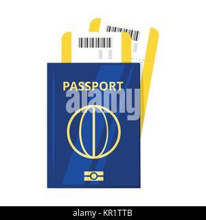 international passport and tickets - Stock Photo