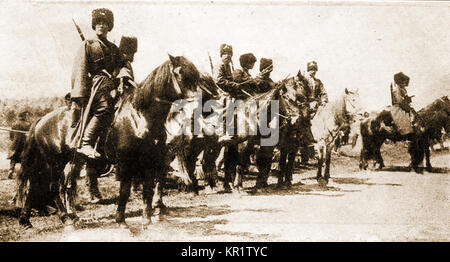 Russian Cossack troops during WW I-  From a First World War magazine - Stock Photo