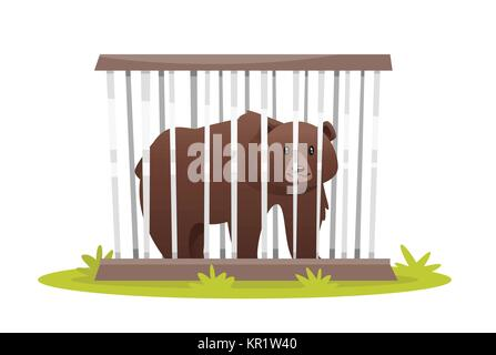 sad bear in zoo cage - Stock Photo