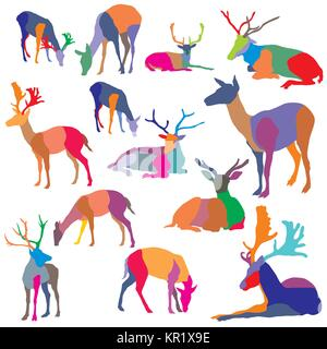 Set of vector colorful mosaic standing and lying deer silhouettes isolated on white background - Stock Photo