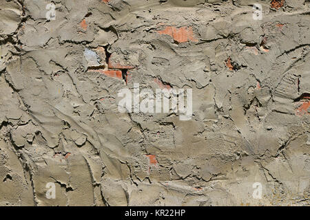 Cement plastering layer on brick wall - Stock Photo