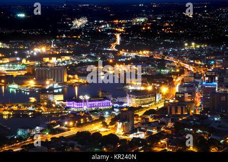 Mauritius Port-Louis aerial view - Stock Photo