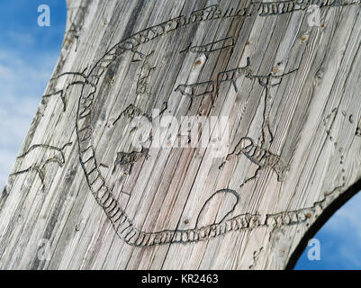 Norway wooden graffiti - Stock Photo