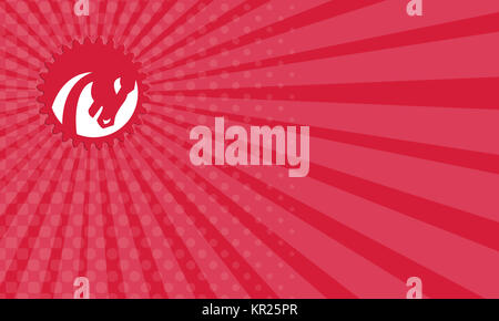 Business card Angry Horse Head Gear Circle Retro - Stock Photo