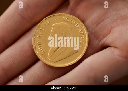 1 ounce Krugerrand golden coin, 1 Unze Krugerrand Goldmuenze - Stock Photo