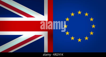 Europe and United Kingdom Flags Background - Stock Photo
