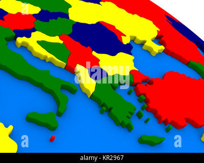 Greece on colorful 3D globe - Stock Photo