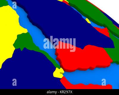 Yemen, Eritrea and Djibouti on colorful 3D globe - Stock Photo