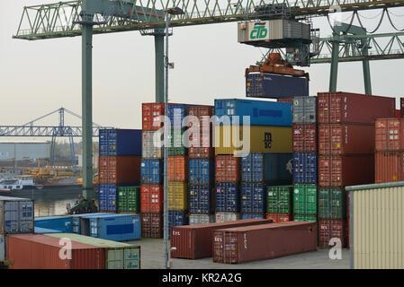 Container harbour of Dortmund, North Rhine-Westphalia, Germany, Container Hafen Dortmund, Nordrhein-Westfalen, Deutschland - Stock Photo