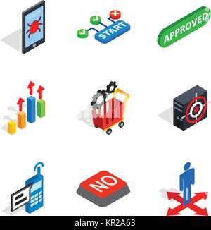 Analytics icons set, isometric style - Stock Photo