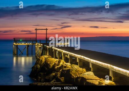 Beautiful pier on Koh Kood island in twilight, Thailand. - Stock Photo
