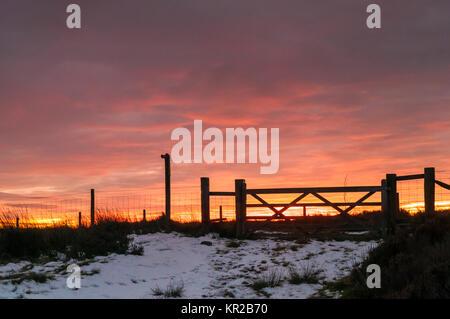 Sunset over High Crag in Nidderdale, North Yorkshire,England. December 2017 - Stock Photo