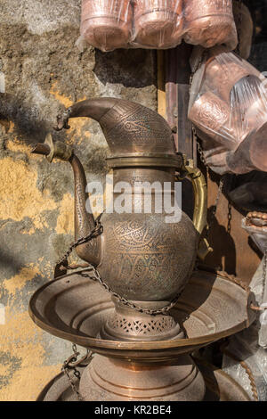 Traditional kashmiri copper pitcher for sale in Srinagar, Kashmir, India - Stock Photo