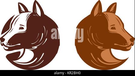 Dog logo or label. Pet, puppy, animal symbol. Vector illustration - Stock Photo