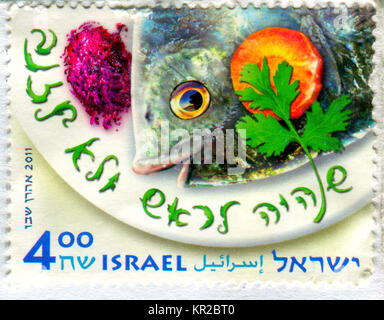 GOMEL, BELARUS, 17 DECEMBER 2017, Stamp printed in Israel shows image of the Fish, circa 2011. - Stock Photo