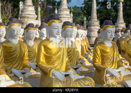 Buddha statues at the Maha Bodhi Tataung in Monywa Myanmar. - Stock Photo