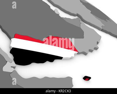 Yemen on globe with flag - Stock Photo