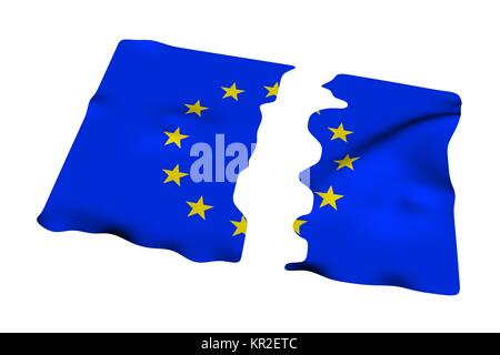 EU flag broken up - Stock Photo