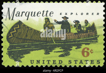 USA - CIRCA 1968: A stamp printed in United States of America shows Father Marquette (1637-1675) and Louis Jolliet - Stock Photo