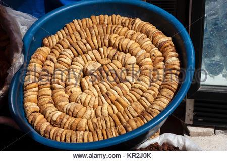 Organic dried figs in a bazaar, Turkey - Stock Photo