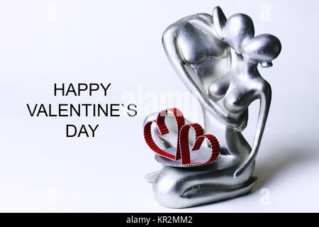 statuette valentine with text - Stock Photo