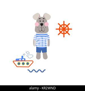 Sailor dog tshirt cartoon design vector. - Stock Photo