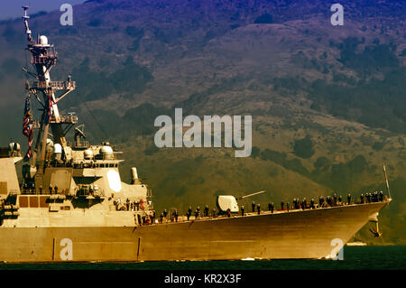 Demonstration of USS Milius (DDG 69) on Fleet Week celebration in San Francisco, San Francisco Bay, California, - Stock Photo