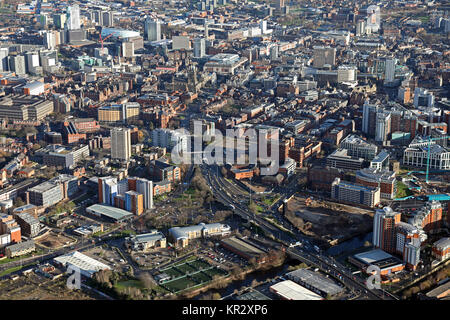 aerial view of Leeds city centre from the west, UK - Stock Photo