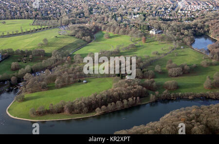 aerial view of Roundhay Park in Leeds, UK - Stock Photo
