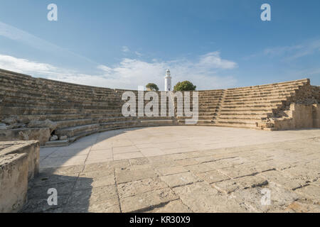 Paphos archaeological park at Kato Pafos in Cyprus, a UNESCO World Heritage Site. View of the Amphitheatre (Odeon) - Stock Photo