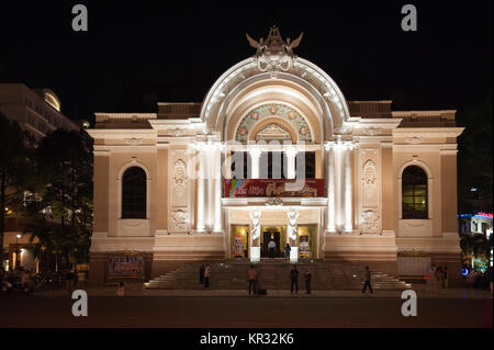 Saigon Opera House or the Municipal Theatre of Ho Chi Minh City by night - Stock Photo
