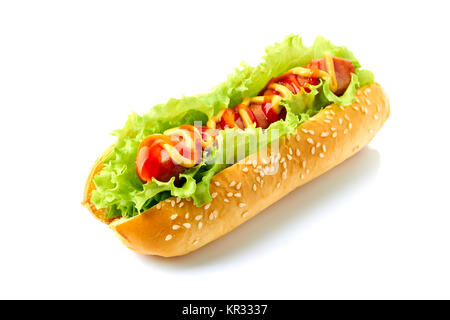 Homemade hot dog on white - Stock Photo