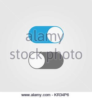 On and Off switch toggle. Simple flat icon design - Stock Photo