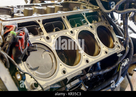 disassembled engine with pistons - Stock Photo