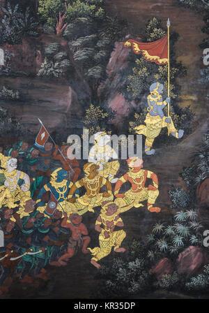 Traditional Thai paintings of Ramayana epic in Wat Phra Kaew Bangkok, Thailand - Stock Photo