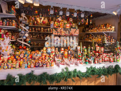 A small outdoor shop selling nesting dolls at the Toronto Christmas market in the distillery district, an arts, - Stock Photo