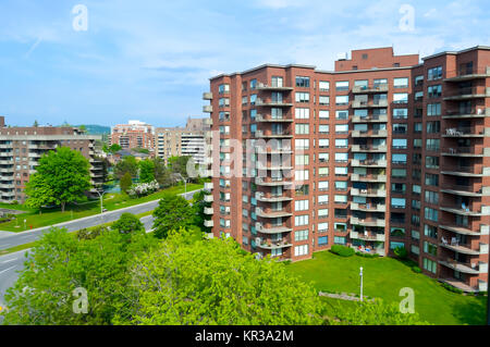 Modern condo buildings with huge windows and balconies in Montreal, Canada. - Stock Photo