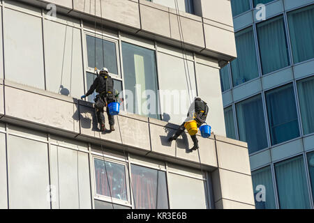 Two window cleaners using rope access techniques on a building near the Bull Ring, Birmingham, England, UK, - Stock Photo