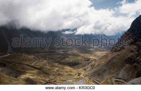 Panoramic view of North Yongas landscape with low clouds, La Paz, Bolivia. - Stock Photo