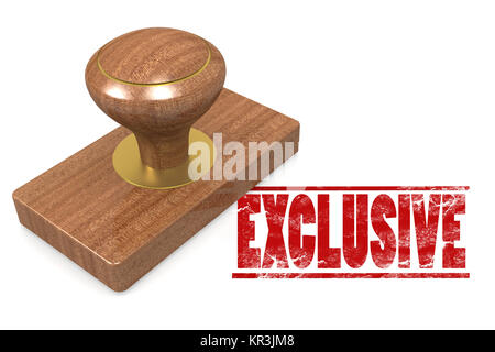 Red exclusive wooded seal stamp - Stock Photo