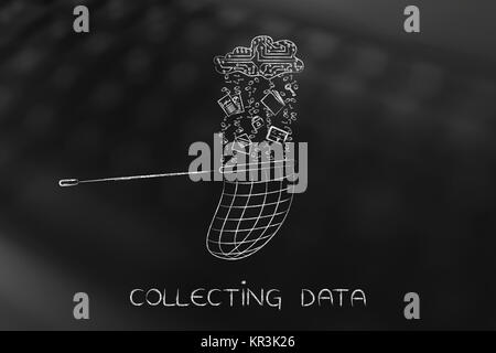net catching files falling from an electronic cloud, collect data - Stock Photo
