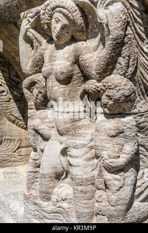 Mythological relief in the Sprudelhof of Bad Nauheim.This complex is recognized as the largest center of Art Nouveau - Stock Photo