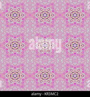 Abstract geometric seamless background. Delicate regular stars pattern magenta and aquamarine on pastel violet, - Stock Photo